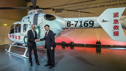 Wolfgang Schoder (left), CEO of Airbus Helicopters Germany, hands over an EC135 to Li Libing, general director of Beijing 999. Charles Abarr/Airbus Helicopters Photo