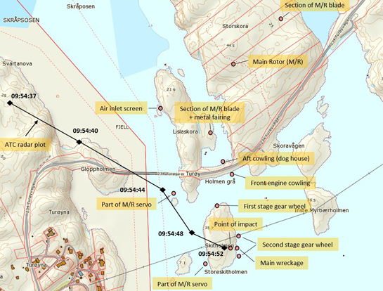 An AIBN map shows the accident site with the resting location of various parts of the wreckage. Map/Illustration courtesy of the Norwegian Mapping Authority/AIBN