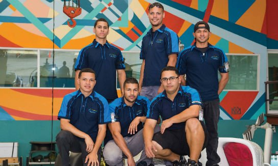 Billy Roldan (back row, right) and his team provide the avionics integration talent.