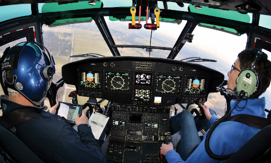 Airbus offers an electronic flight bag solution for the H215 called Helitab. Housed in a Panasonic Toughpad, it allows pilots to record, access, and manage data in a fully integrated digital format.
