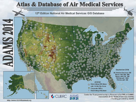 Figure 1. ADAMS maps for 2003 (top) and 2014 (bottom) show the growth in air medical helicopters following 2002 changes to Medicare reimbursement. While the number of helicopters has almost doubled, they have clustered in areas where reimbursement is favorable -- not necessarily where there is the greatest clinical need.