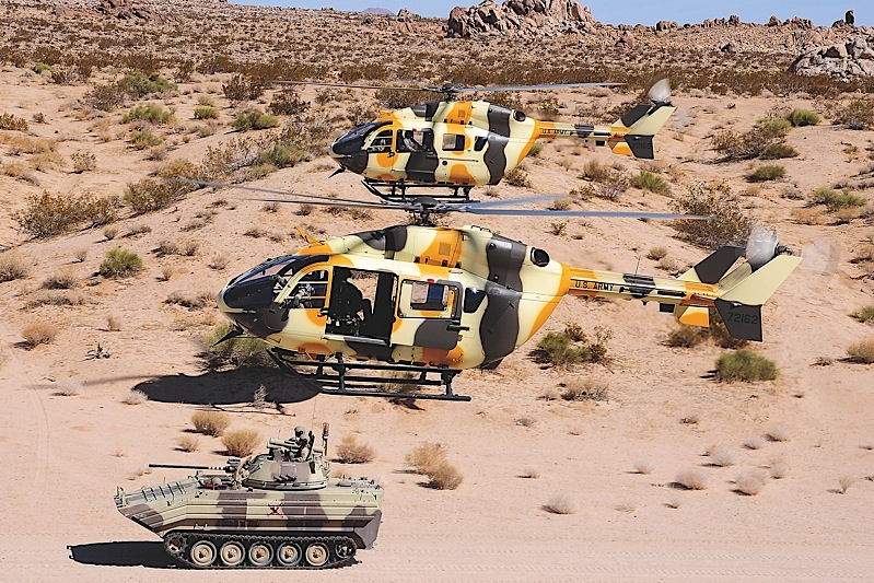 Together with the 11th Armored Cavalry Regiment OPFOR, the aircrews of B Company, 2916th Aviation Battalion provide the U.S. Army (and sometimes allied and other U.S. forces) with a credible enemy threat on the simulated battlegrounds of the National Training Center at Fort Irwin.