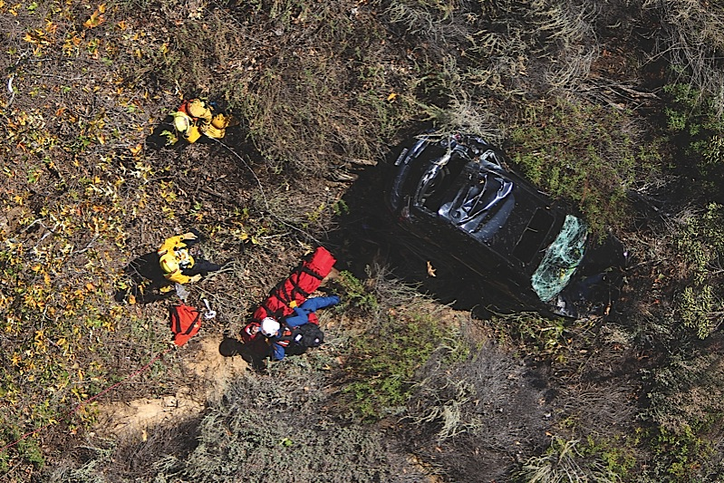 The victim in LACoFDs rescue was trapped in her car for almost two hours before she managed to crawl out and call for help.