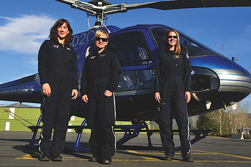 From left to right: paramedic Molly Turner, flight nurse Natasha Lukasiewich and pilot Kristi Grant in front of the Care Flight 3 AStar based in Truckee, Calif.