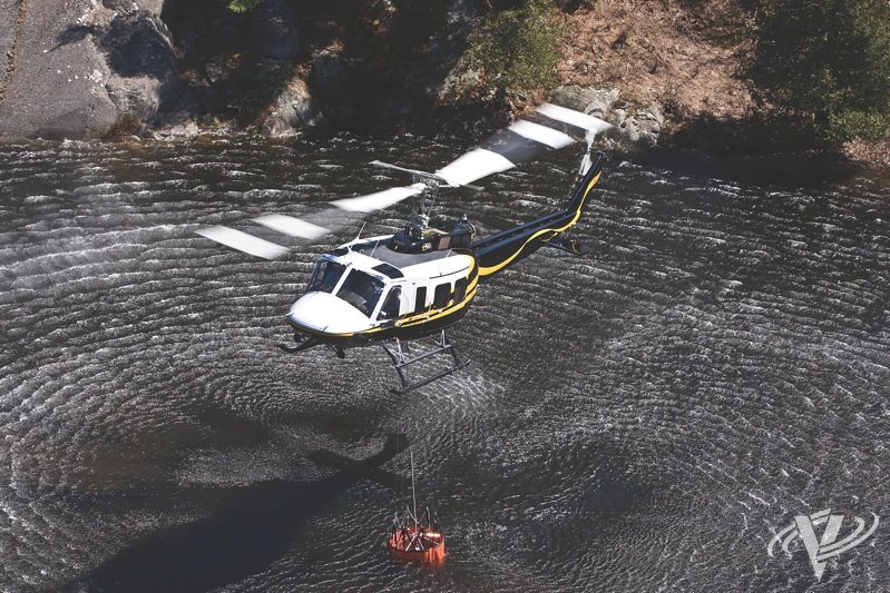 Modern Bambi Buckets and FAST Buckets offer impressive capabilities for operators engaged in aerial firefighting. Mike Reyno Photo