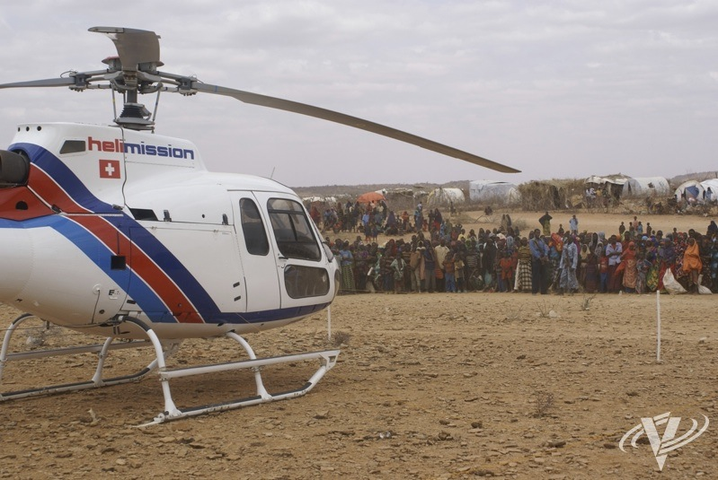 Helimission is currently performing large amounts of relief work at refugee camps in Ethiopia. Helimission Photo