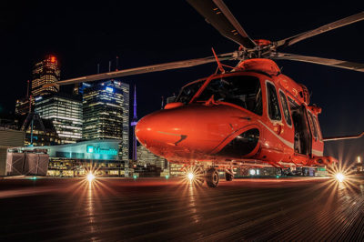 Ornge AW139 preparing for departure from St. Michael's Hospital in Toronto