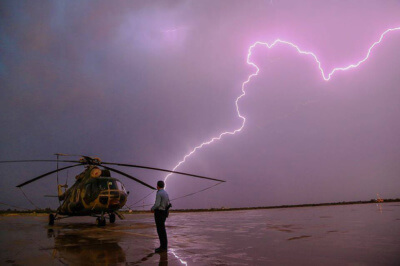 A thunderstorm at Nawabshah Airport in Pakistan.