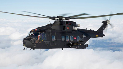 HH101-A Italian CSAR flying above cloud.