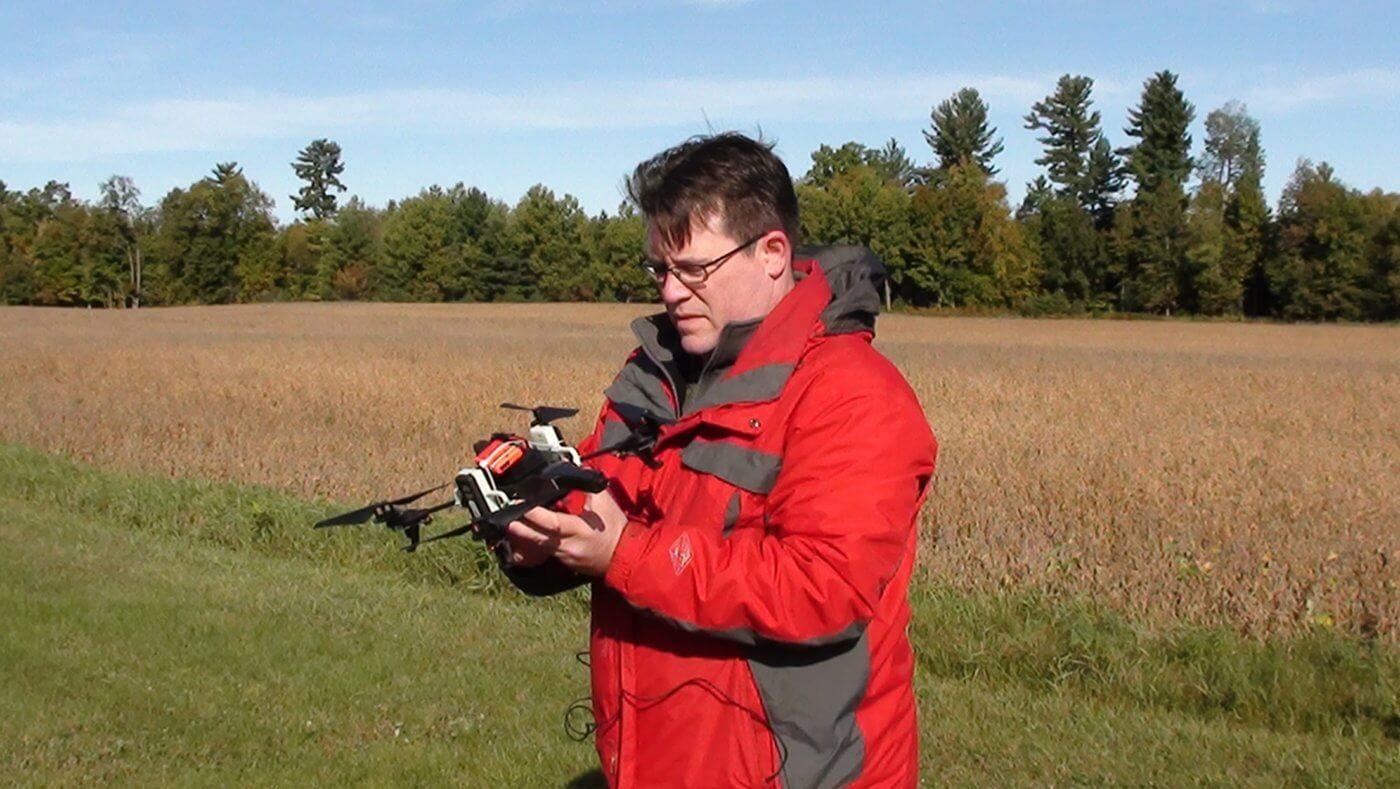 Jeremy Laliberte holding a UAV