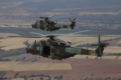 Two NH90 helicopters in flight