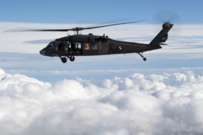 One of the four UH-60L Black Hawk supported by the Army National Guard Helicopter task force