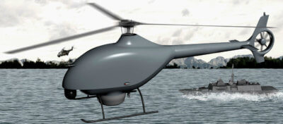 Helicopter drone in flight