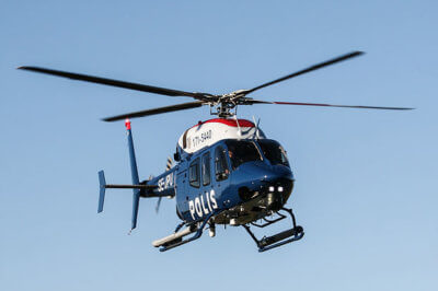 Swedish Police Bell helicopter in flight.