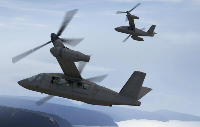 Two tiltrotors in flight