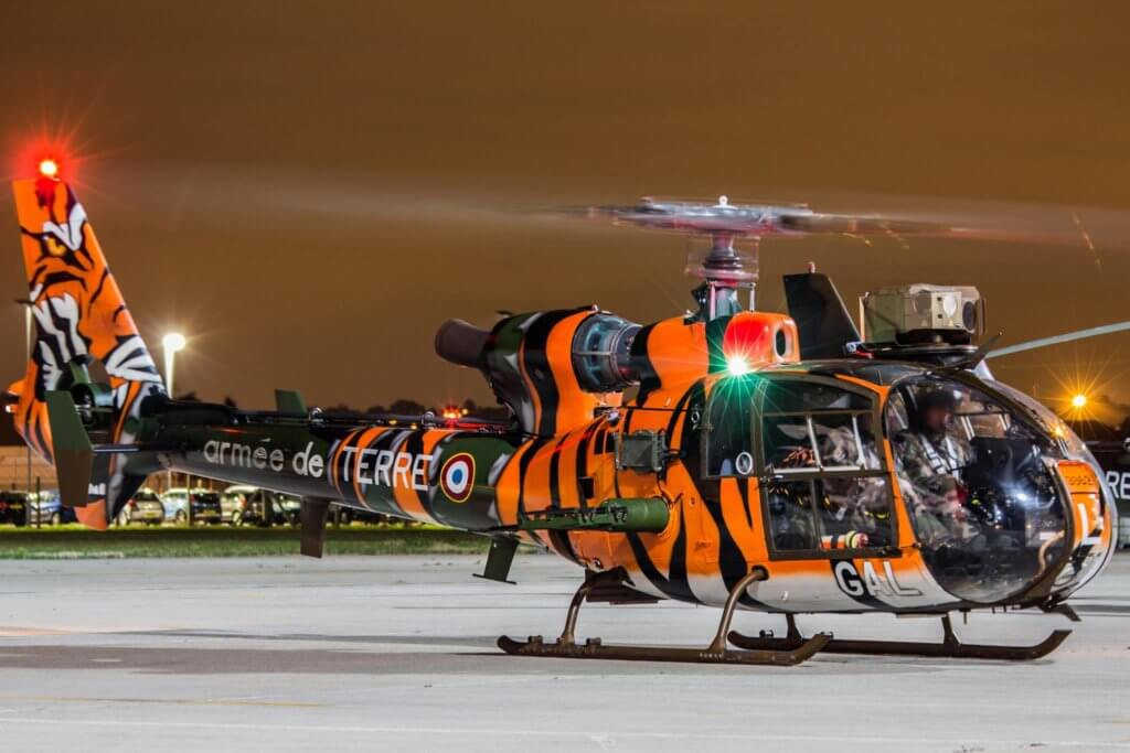 French Army Gazelle from 3e RHC in NATO Tiger Meet colors at RAF Northolt. Jaden Moss Photo