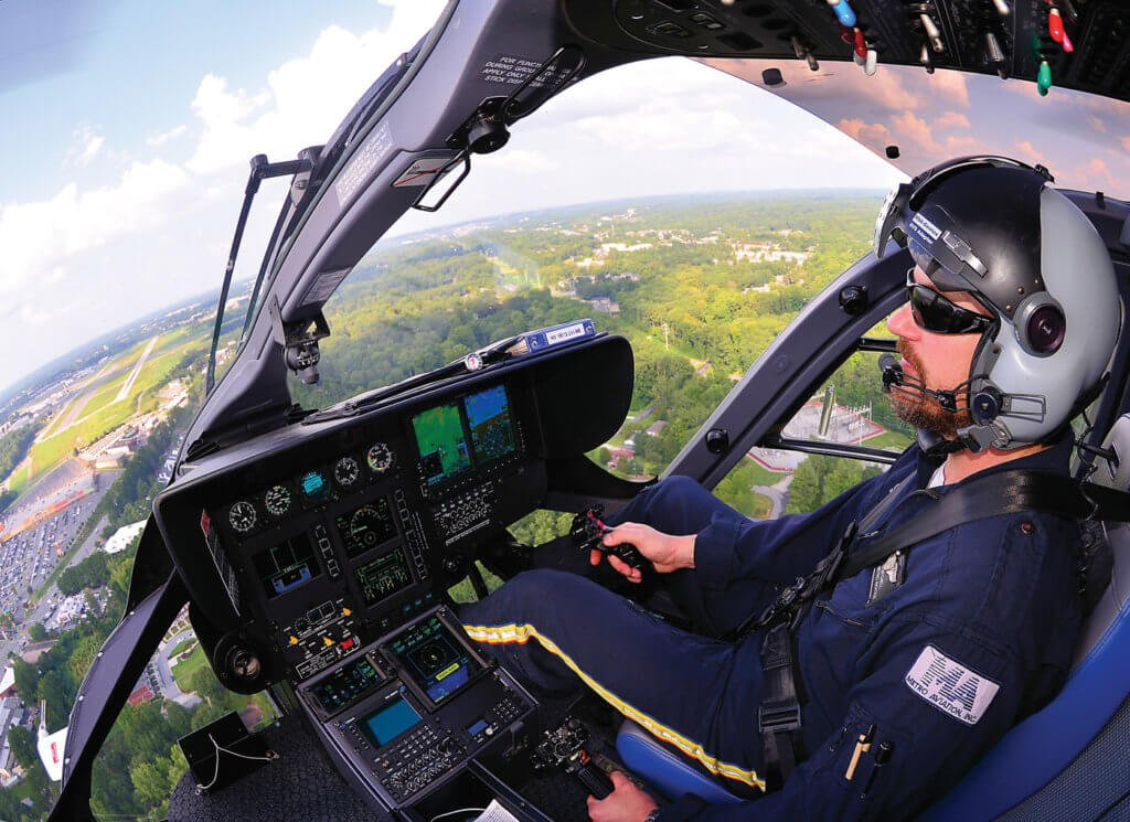 The EC145e's streamlined glass cockpit is proving popular with its pilots.