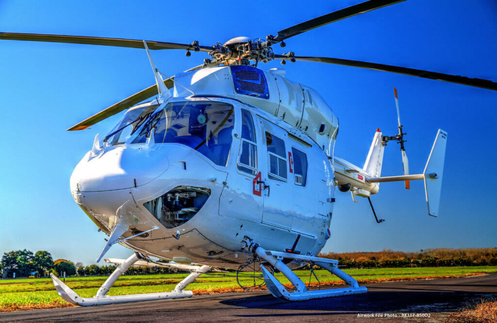 The BK117‐850D2 offers the operator an economical way to meet Category A/Class 1 requirements while dramatically enhancing the performance, safety and capabilities of the helicopter for the benefit of the operator, crew and its clients. Airwork Photo
