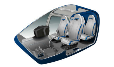 A rendering of the luxury interior for the Bell 505 Jet Ranger X.