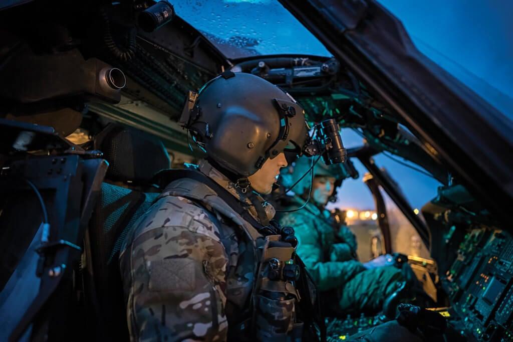 56th Rescue Squadron pilots go through their pre-flight checklist prior to a night sortie at their home base, RAF Lakenheath.