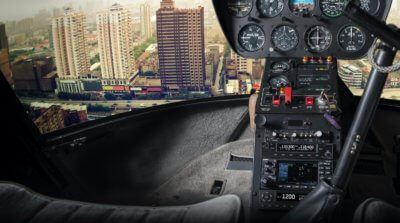 Garmin equipment shown within helicopter cockpit