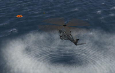 Royal New Zealand Air Force NH90 helicopter ona search-and-rescue mission is depicted in this image generated by the new CAE Medallion-6000XR image generator. CAE Photo