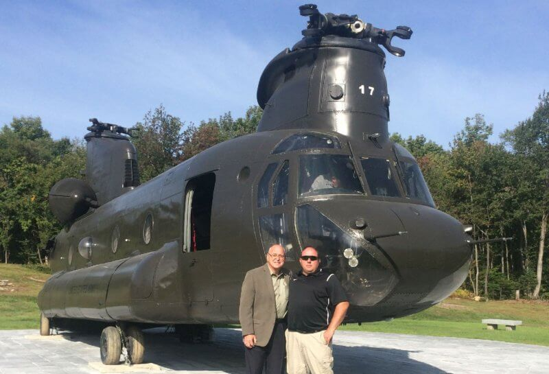 Glenn Wargo, left, an H.W. Farren employee, represented Columbia Helicopters at the opening of the memorial in September 2016. Glenn Wargo Photo