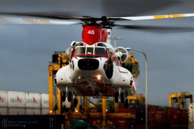 A Columbia Helicopters Boeing Chinook 234 lands at the Port of Melbourne Docks after traveling down the east coast of Australia from Papua, New Guinea. Photo submitted by Andrew Hunter-Graham