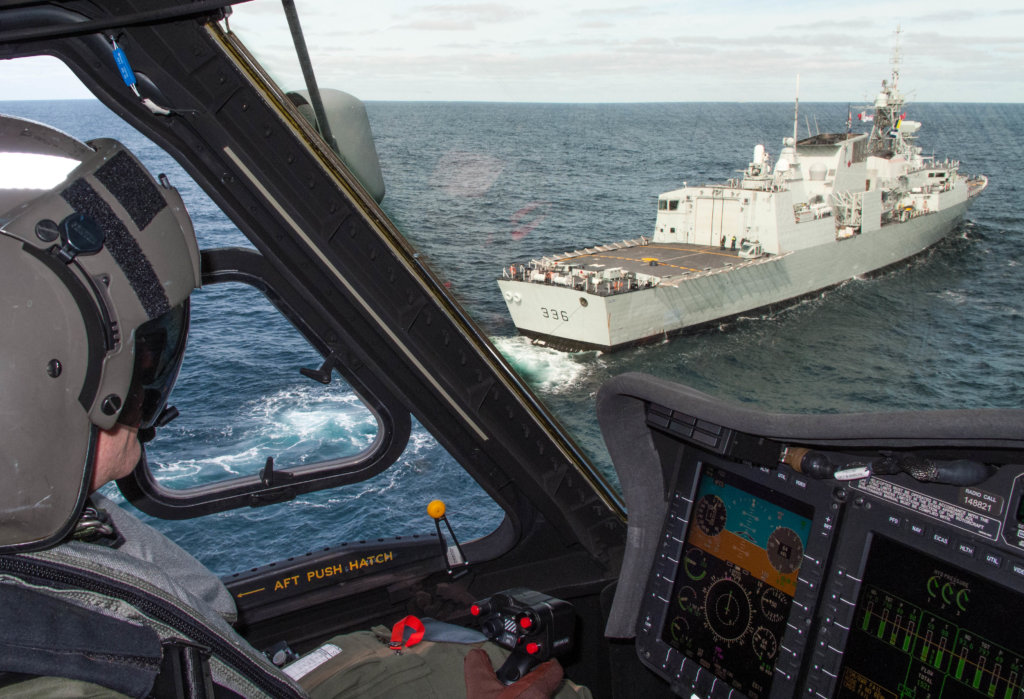 CH-148 Cyclone crews conduct an operational test and evaluation with HMCS Montréal, the first ship to support a helicopter test and evaluation facility detachment. Royal Canadian Navy Photo