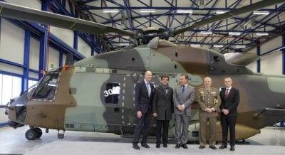 Assembled at the Airbus Helicopters Spanish final assembly line in Albacete, Spain, the NH90 will be operated by the Spanish Army's aviation branch, Fuerzas Aeromóviles del Ejército de Tierra. Pictured here, representatives celebrate the recent delivery. NHIndustries Photo