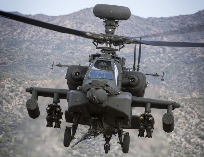 AH-64E Apache helicopter in flight