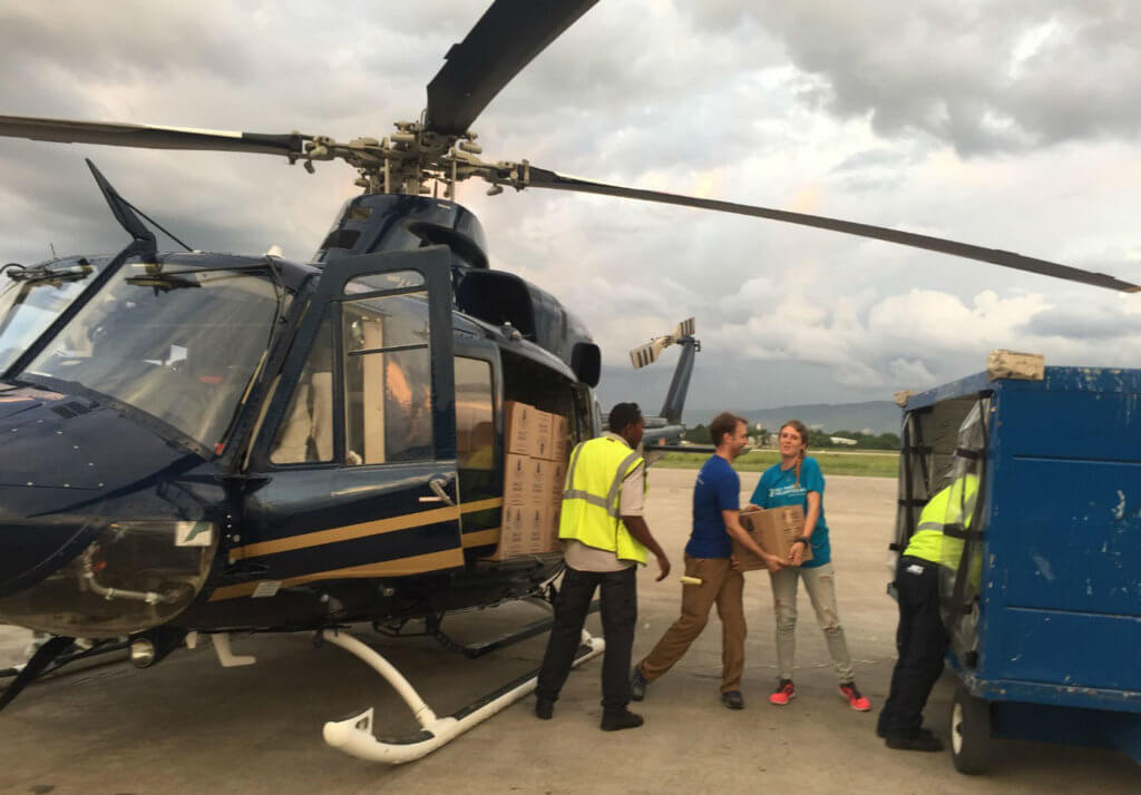 Over a roughly two-week period, the two Bell aircraft in Haiti delivered 50 metric tons of food aid in partnership with NGOs including All Hands Volunteers. Airlink Photo