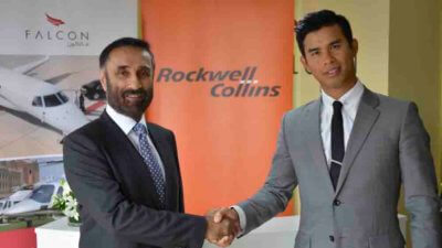 Raman Oberoi (left), COO of Falcon Aviation Services with Bernard Stanley of Rockwell Collins. Falcon Aviation Services is using ARINC LocalCheck to automate the check-in process for its fleet of helicopters and corporate jets.