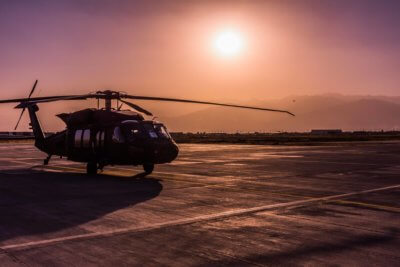 A Sikorsky UH-60M Black Hawk takes a break during operations in Afghanistan. Photo submitted by Jeffrey Kennedy