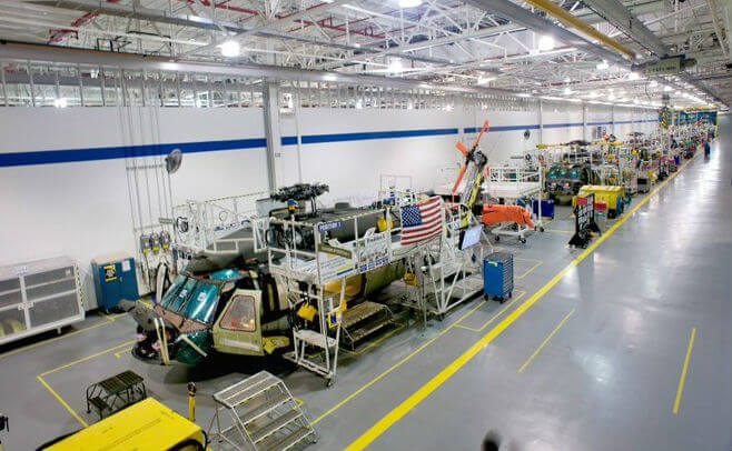 Pictured here is the Black Hawk production line at Sikorsky's Florida Assembly and Flight Operations center. Lockheed Martin Photo