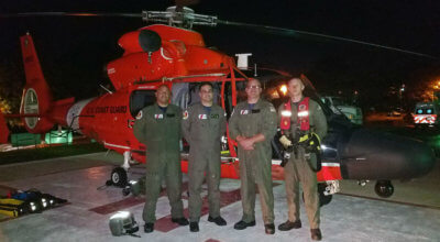The MH-65 Dolphin helicopter crew hoisted the patient and the cruise ship doctor onboard and transported them to the Centro Medico Hospital in San Juan, where the patient was received by awaiting emergency medical personnel. U.S. Coast Guard Photo