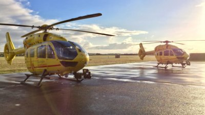 EAAA was the first air ambulance charity to get approval for night helicopter emergency medical service operations and for the last six years has planned to provide a doctor and critical care paramedic team on every shift. EAAA Photo