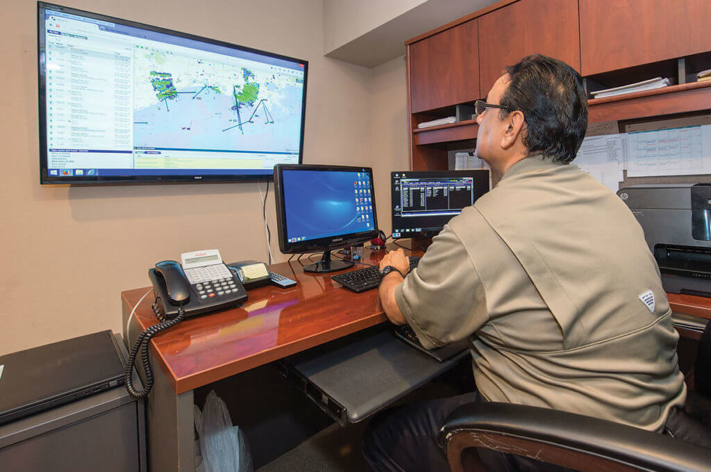 Ben Campos monitors each aircraft's flight and communications using Outerlink and Sky Connect.