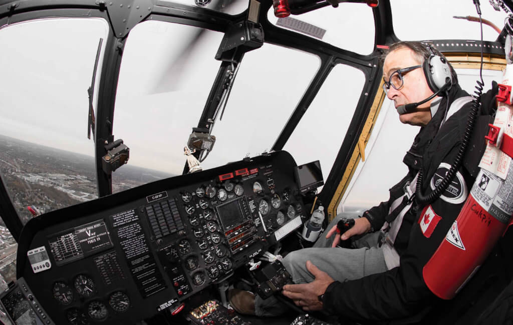 Four Season's owner and chief pilot Dave Tommasini at the controls of the S-58. Tommasini and Bergeron both travelled to Texas to take the type rating on the aircraft earlier this year.