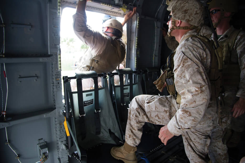 The CH-53K's windows have been enlarged to permit easier exit in an emergency, and its troop seats are fully crashworthy. Sikorsky Photo