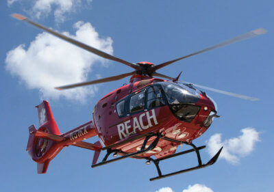 The medically-equipped helicopter chosen to serve the Southern California area is an Airbus EC135, with dual engines that can fly at airspeeds up to 150 miles per hour. REACH Photo