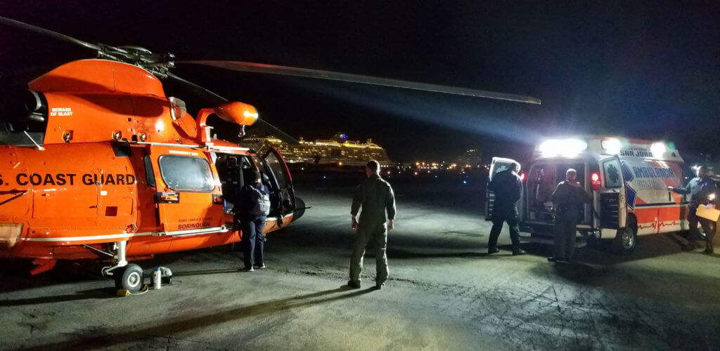A ground ambulance was able to meet the Dolphin helicopter on the ramp at the Isla Grande Airport.
