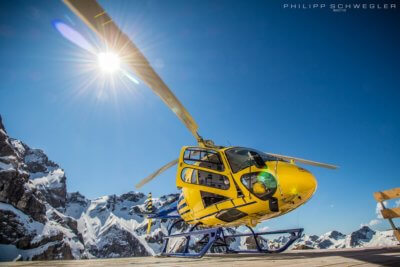 Helixcopter.de AS350 B3e on the helipad of the lodge Waltenberger Haus in the Allgäuer Alps (South Germany). Photo submitted by Philipp Schwegler
