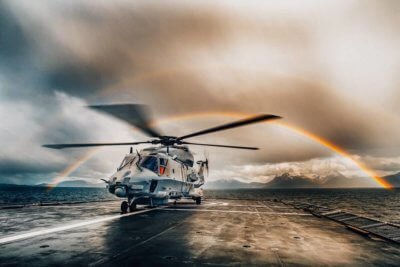 NH90 helicopter from 337 squadron - Royal Norwegian Air Force, during sea trials onboard the Norwegian Coast Guard vessel KV-Senja (W321). Photo submitted by Instagram user @henriksteinset