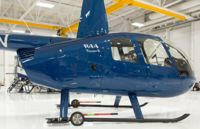Helitowcart has refreshed its line of wheels for Robinson aircraft. The new version extends the product's flexibility by allowing a pair to be used both inside and outside skids to fit all Robinson versions from the early R44s to the latest R44s and R66s. Helitowcart Photo