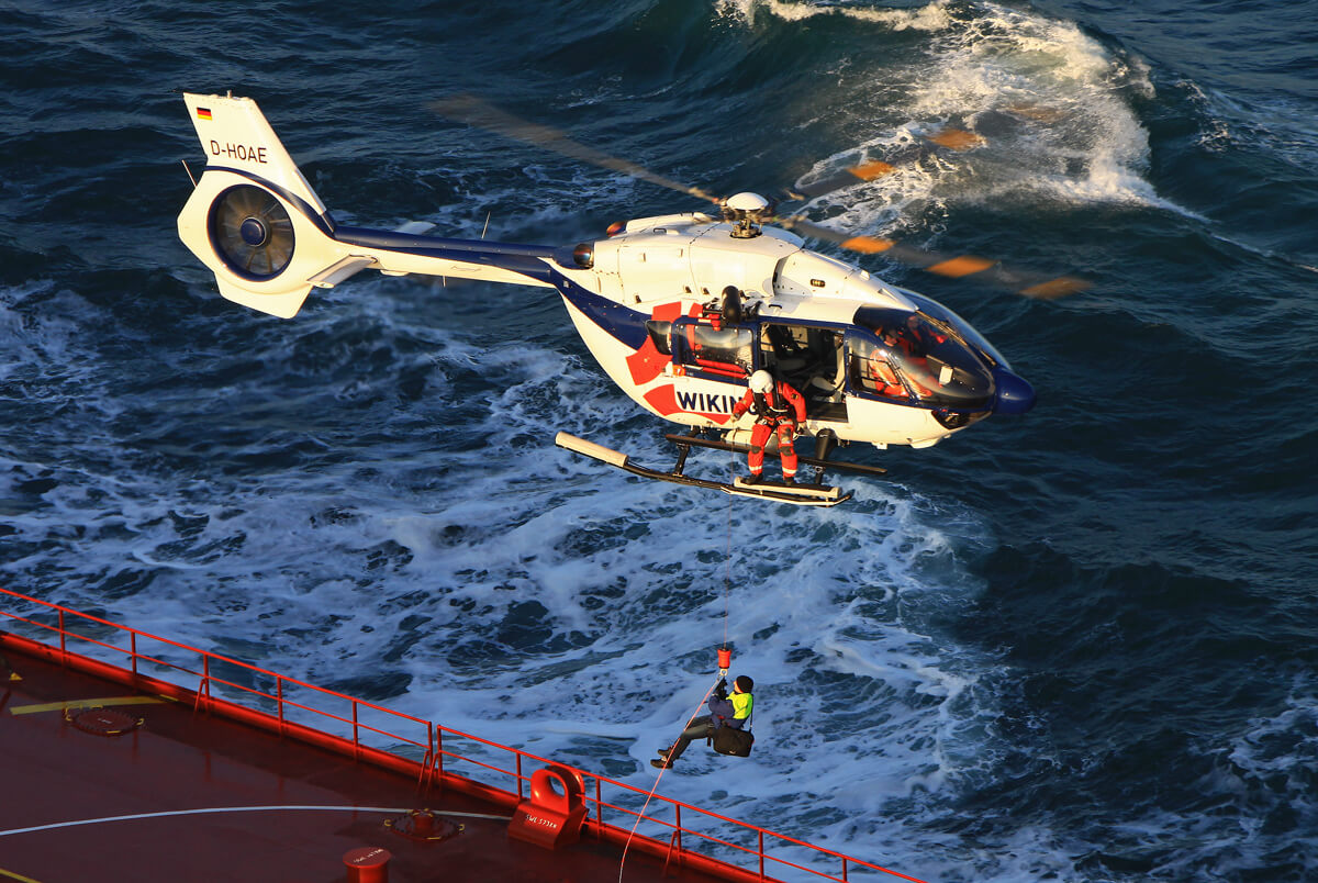 Wiking conducted the first commercial sea pilot transfer using its new Airbus H145 on Feb. 13, 2017, near the German Bight. Photo by Christoph Meyer