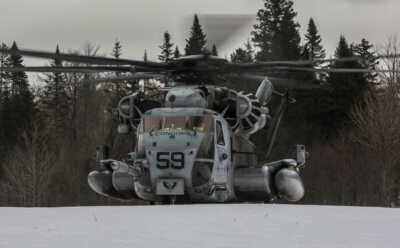A CH-53E Super Stallion with Marine Heavy Helicopter Squadron 464 lands in snow during Exercise Frigid Condor near Brunswick, Maine, on Jan. 22, 2017. HMH-464 conducted the exercise to increase the squadron's operational readiness in extreme conditions. The U.S. Naval Research Laboratory is investigating ways to potentially detect supercooled liquid clouds from the air, which can cause hazardous icing conditions for aircraft. NRL Photo