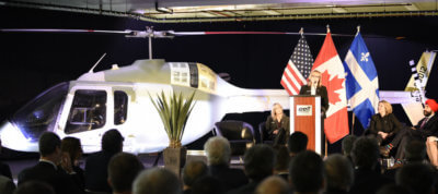 Navdeep Bains took part in a ceremony to celebrate the completion of the new 505 Jet Ranger X helicopter from the Mirabel production line. Christine St-Pierre also took part in the event on behalf of Dominique Anglade. Bell Photo
