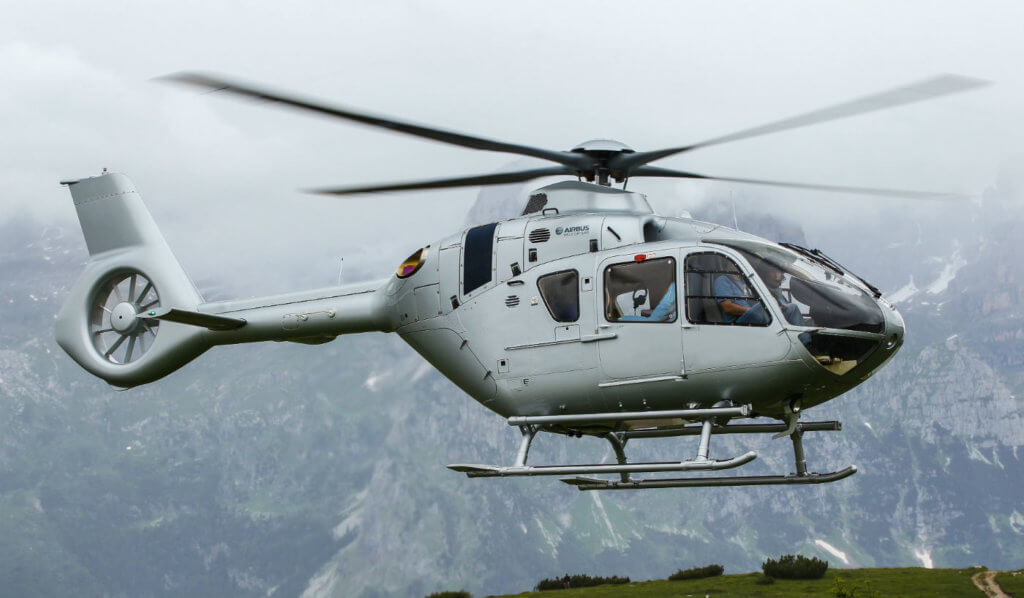 Airbus Helicopters' new version of its Helionix avionics suite for the H135 (pictured here), H145 and H175 will see improvements in the helicopter terrain awareness and warning system and synthetic vision systems on all three models. Airbus Photos