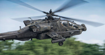 An AH-64 Apache caught soaring through the skies. Photo submitted by TADO Aviation Photo